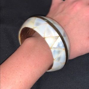 Mother of pearl inlay bracelet w/ gold detail